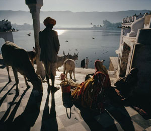 INDIA Rajasthan. A temple on the shore of the sacred pushkar